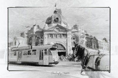 Drawing - Flinders Street Station, Melbourne by Chris Armytage