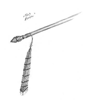 Drawing - Flint Arrow by Kevin Callahan