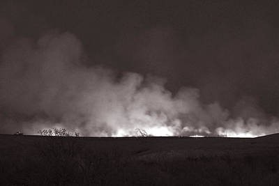 Photograph - Flint Hills Fire In Monochrome by Thomas Bomstad