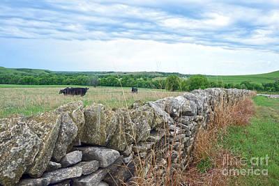 Photograph - Flint Hills, Kansas, Stone Fence by Catherine Sherman