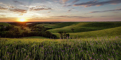 Photograph - Flint Hills Sunset Pano II by Scott Bean