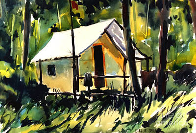 Painting - Flint Ridge Campsite Plein Air Framed And Glazed by Charlie Spear
