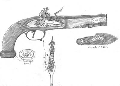 Drawing - Flintlock Circa 1800 by Kevin Callahan