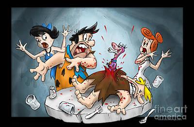 Flintstones Vs Alien Art Print