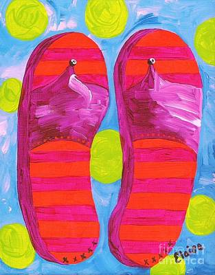 Lime Painting - Flip Flops  by Eloise Schneider