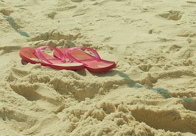 Flip Flops In The Sand Art Print by Beverly Hammond