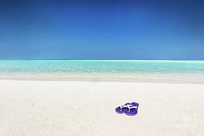 Photograph - Flip-flops On Sand On Tropical Beach In Maldives by Michal Bednarek