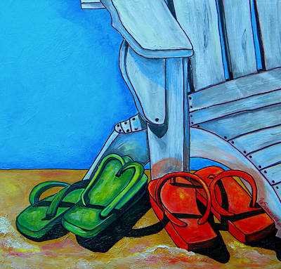 Painting - Flip Flops On The Beach by Patti Schermerhorn