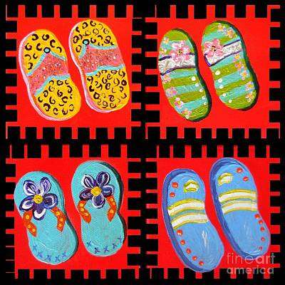 Bright Colours Painting - Flip Flops Times Four by Eloise Schneider