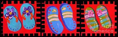 Flip Flops Times Three Art Print by Eloise Schneider