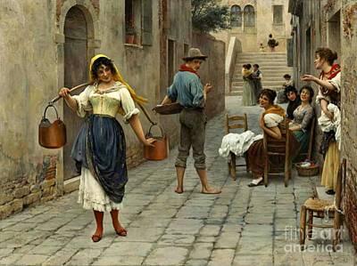 Flirtatious Milkmaid 1890 Art Print by Padre Art