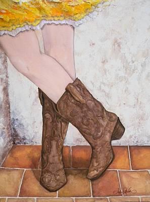 Flirtin Cowgirl Print by Audrey Sullivan