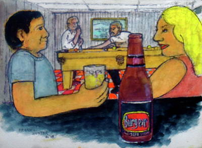 Painting - Flirting At My Basement Bar And Pool Room by Frank Hunter