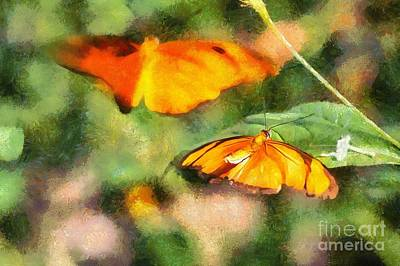 Digital Art - Flirting Butterflies by Eva Lechner
