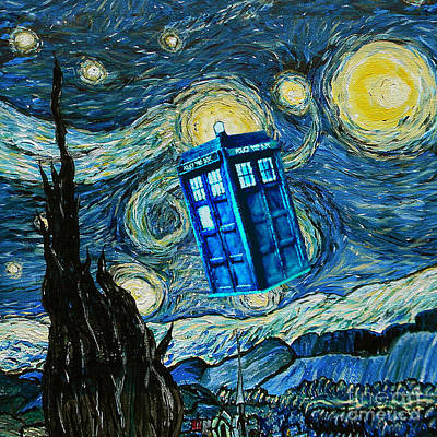 Fandom Painting - Floated Blue Phone Box by Three Second