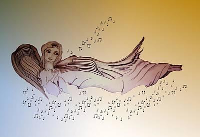 Drawing - Floating Angel by Myrna Migala