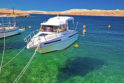 Photograph - Floating Boat On Turquoise Sea In Velebit Channel by Brch Photography