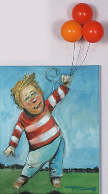 Painting - Floating Boy With Balloons by Tim Nyberg