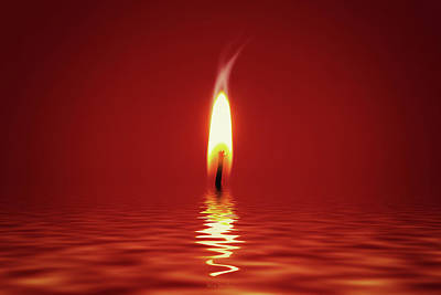 Solitude Digital Art - Floating Candlelight by Wim Lanclus