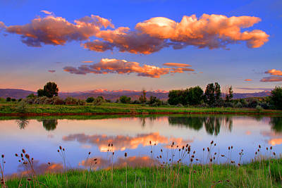 Floating Clouds And Reflections Art Print by Scott Mahon