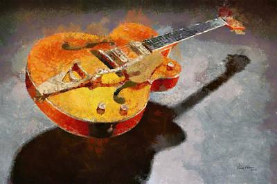 Floating Guitar Art Print