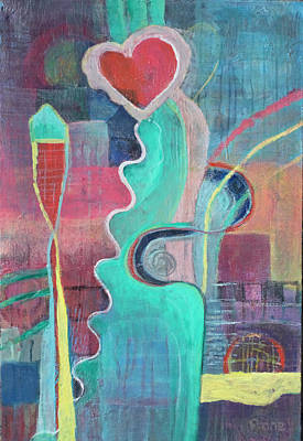 Drip Painting - Floating Heart by Susan Stone