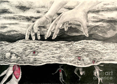Drawing - Floating Hearts #7 by Leandria Goodman