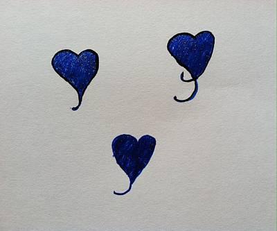 Drawing - Floating Hearts by Alohi Fujimoto