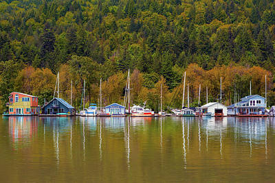Photograph - Floating Homes Along Multnomah Channel In Portland Oregon by David Gn