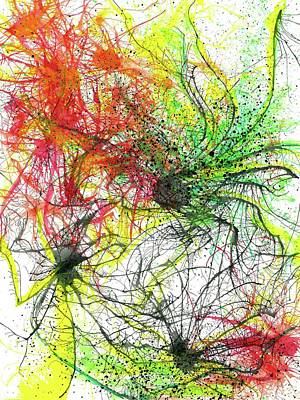 Fireworks Painting - Floating In The Electric Sea #336 by Rainbow Artist Orlando L aka Kevin Orlando Lau