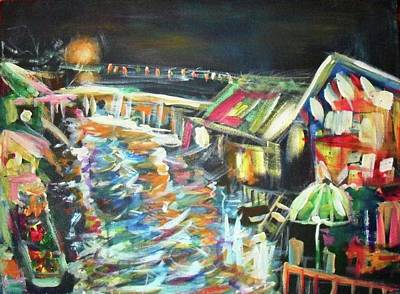 Painting - Floating Lights At Night by Wanvisa Klawklean