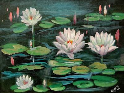 Floating Lillies Art Print by Sai Shyamala Ramanand