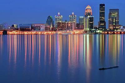 Photograph - Floating Log Louisville Lights, by Frozen in Time Fine Art Photography