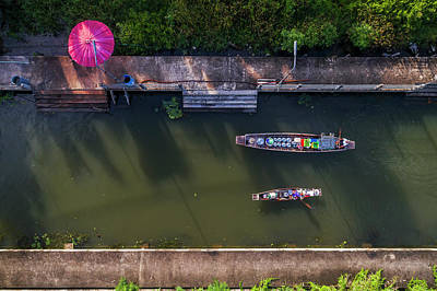 Photograph - Floating Market Aerial View by Pradeep Raja PRINTS