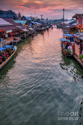 Thai Photograph - Floating Market Sunset by Adrian Evans