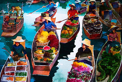 Filipino Artist Painting - Floating Market by V  Reyes