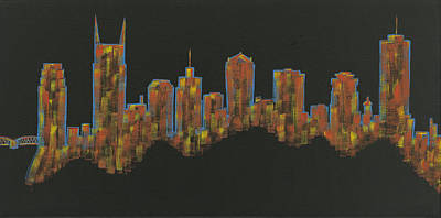Nashville Skyline Painting - Floating Nashville Skyline Bl by Helen Prater
