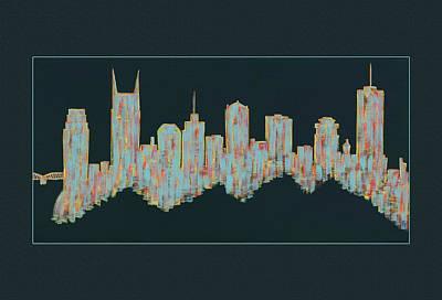 Nashville Building Painting - Floating Nashville Skyline by Helen Prater