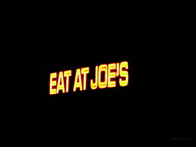 Statue Portrait Photograph - Floating Neon - Eat At Joes by Deborah  Crew-Johnson