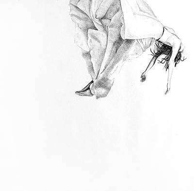 Floating On Clouds, 2015, 50-50cm, Graphite Crayon On Paper Art Print