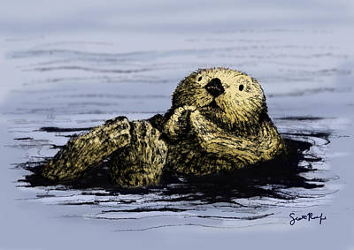 Otter Digital Art - Floating Otter by Scott Rolfe