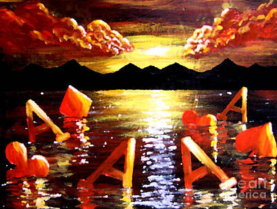 Floating Poker Aces Original by Teo Alfonso