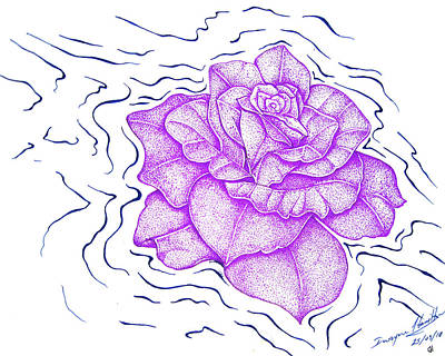 Floating Purple Rose  Art Print