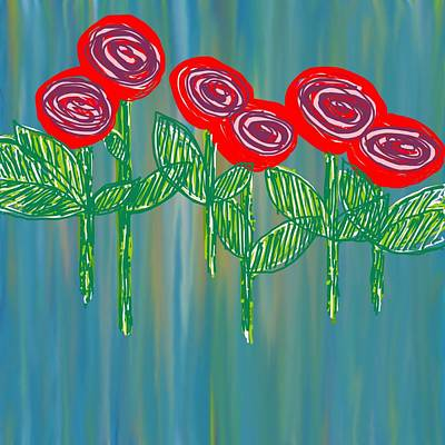 Abstract Skyline Wall Art - Photograph - Floating Roses by Charles Brown