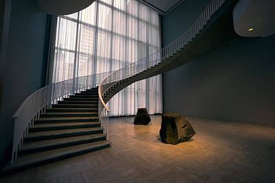 Spiral Staircase Photograph - Floating Spiral Staircase Of Chicago Art Institute by Daniel Hagerman