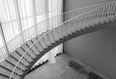 Ira Marcus Royalty-Free and Rights-Managed Images - Floating Staircase at The Art Institute BW by Ira Marcus