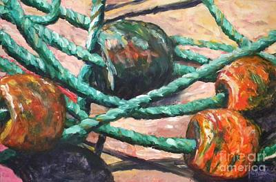 Fishing Bouys Painting - Floats by JoAnn Wheeler