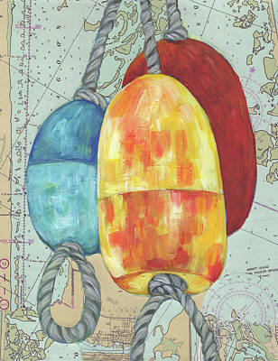Painting - Floats With Navigational Map by Peggy Wilson