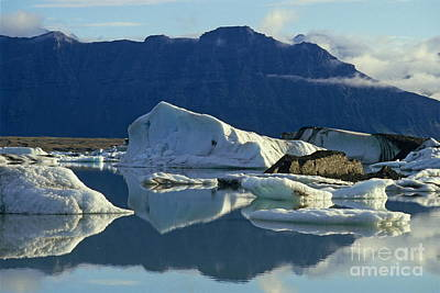 Floatting Field Of Icebergs In Iceland Art Print by Sami Sarkis