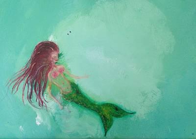 Abstract Painting - Floaty Mermaid by Roxy Rich